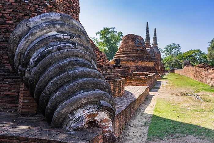 A toppled stupa, Ayutthaya day trip from Bangkok, Ayutthaya tour from Bangkok, Getting to Ayutthaya from Bangkok, Ayutthaya day tour from Bangkok, bus Bangkok to Ayutthaya, train Bangkok to Ayutthaya, how to get to Ayutthaya from Bangkok by train, day trip to Ayutthaya from Bangkok, Bangkok to Ayutthaya train, best day trip from Bangkok, Ayutthaya Day Trip From Bangkok, Thailand