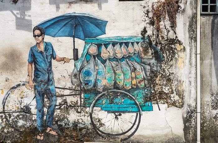 Penang Itinerary: What to do in Penang in 3 days: Georgetown Malaysia guide. Street Art hawker