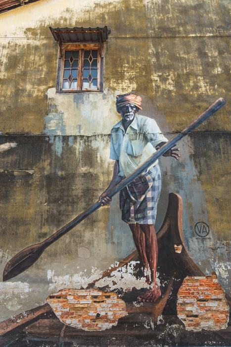Penang Itinerary: What to do in Penang in 3 days: Georgetown Malaysia guide. Boat Man Street Art Painting