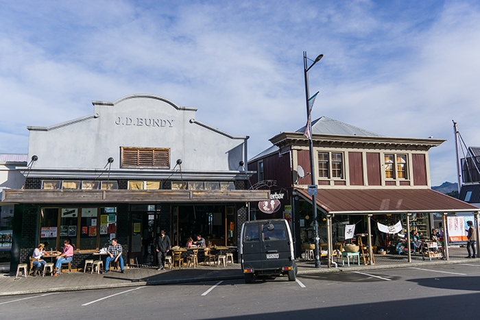 Old shop facades in Lyttelton, (day trips from Christchurch, Christchurch day trips, places to visit near Christchurch, things to do in Canterbury New Zealand, visit Christchurch)