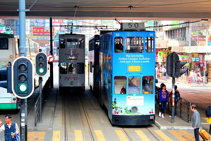 The double decker trams of Hong kong, Backpacking in Hong Kong for backpackers, Backpackers guide to Hong Kong, Hong Kong on a budget trip