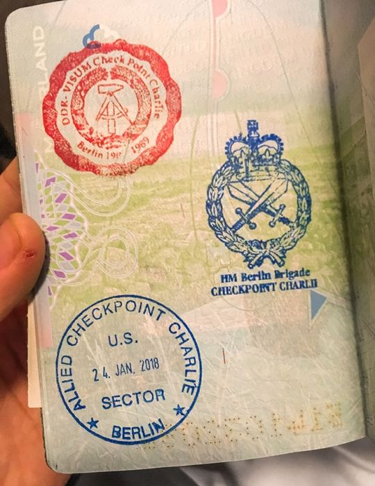 Passport stamps at checkpoint charlie (2 days in Berlin, Things to do in Berlin, 2 days in Berlin itinerary, Berlin 2 days itinerary, Berlin in two days, 48 hours in Berlin itinerary, What to do in Berlin in 2 days, Berlin 2 days, Things to do in Berlin, backpacking Berlin, cheap, budget Berlin, Germany)