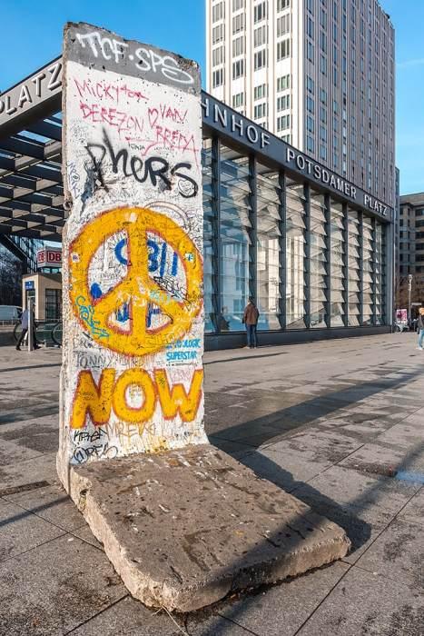 A piece of the Berlin wall at Potsdamer platz (2 days in Berlin, Things to do in Berlin, 2 days in Berlin itinerary, Berlin 2 days itinerary, Berlin in two days, 48 hours in Berlin itinerary, What to do in Berlin in 2 days, Berlin 2 days, Things to do in Berlin, backpacking Berlin, cheap, budget Berlin, Germany)