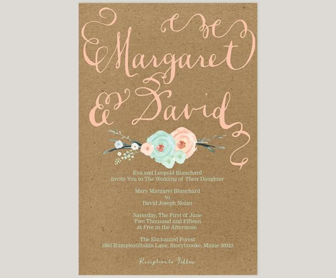 The Margaret Mint Green C Peach Flowers Kraft Wedding Invitations