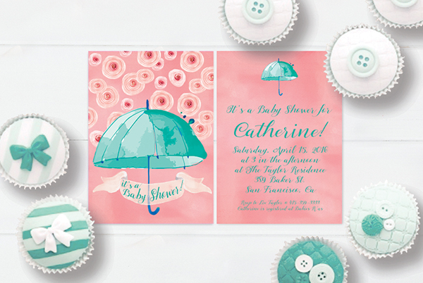 The Catherine Mint C Pink Watercolor Umbrella Baby Shower Invitations