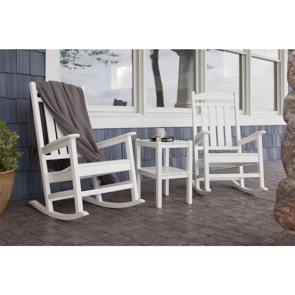 Outdoor Rocking Chair Set Polywood Presidential Style 3 Piece Outdoor Rocking Chair Set