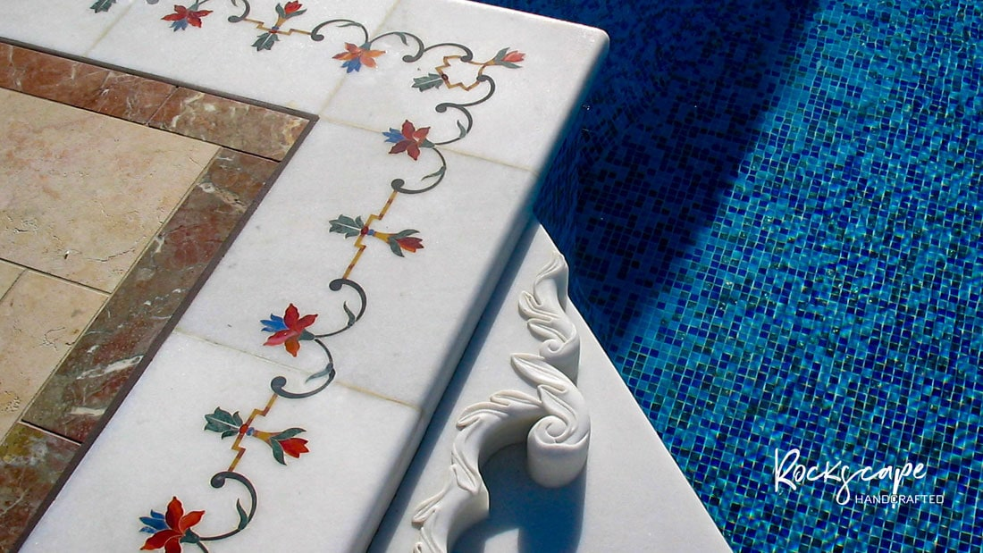 pool coping marble inlay