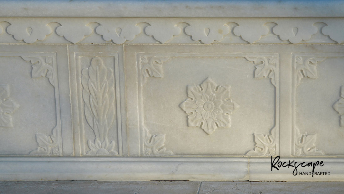 Marble carving panel bench