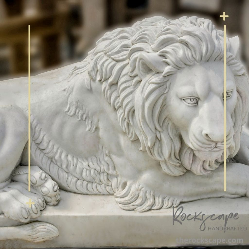 made to order marble lion by the rockscape company