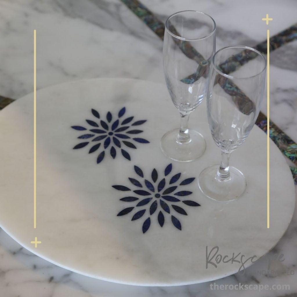 high end decor marble tray with inlay of lazpis