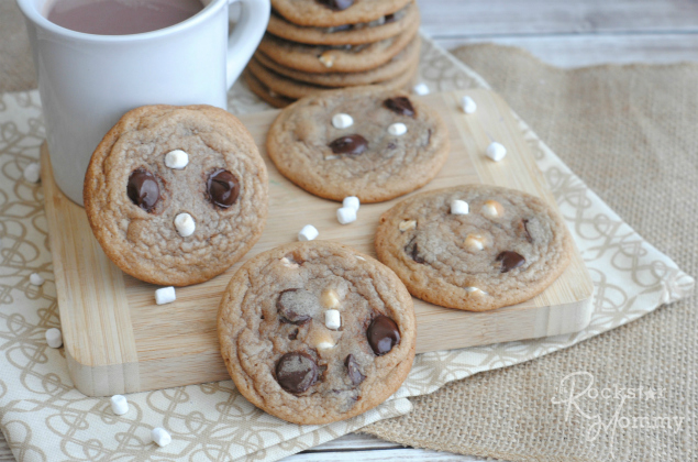 Hot Cocoa Cookies - Loaded Chocolate chip Hot Cocoa Cookies with a cup of hot chocolate