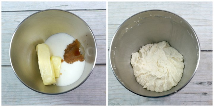 Mixing together butter, sugar, and vanilla