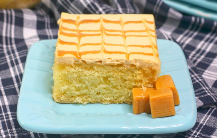 Caramel Tres Leches Cake - slice of cake served on a light blue plate