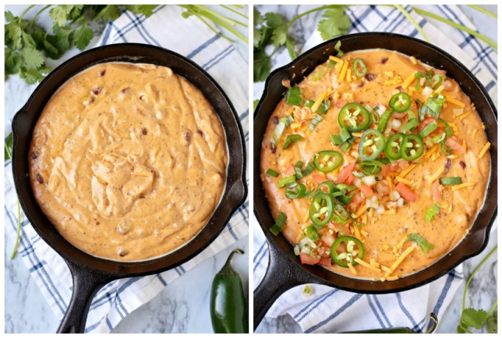 Oven or Crockpot Chili Cheese Dip Recipe - cooked dip in cast iron skillet and topped with pico and jalapenos