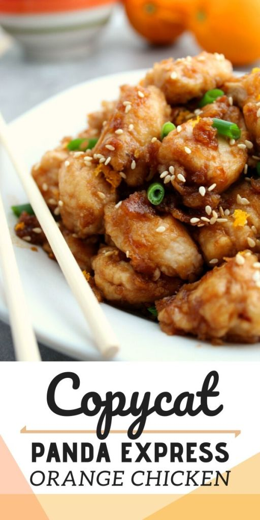 Copycat Panda Express Orange Chicken Recipe - image showing recipe served on a white plate with chop sticks