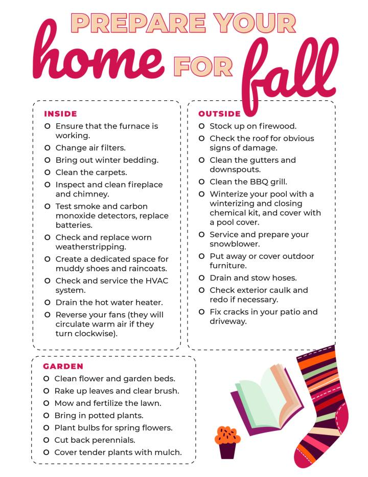 Sheet of paper with how to prepare your home check list on it
