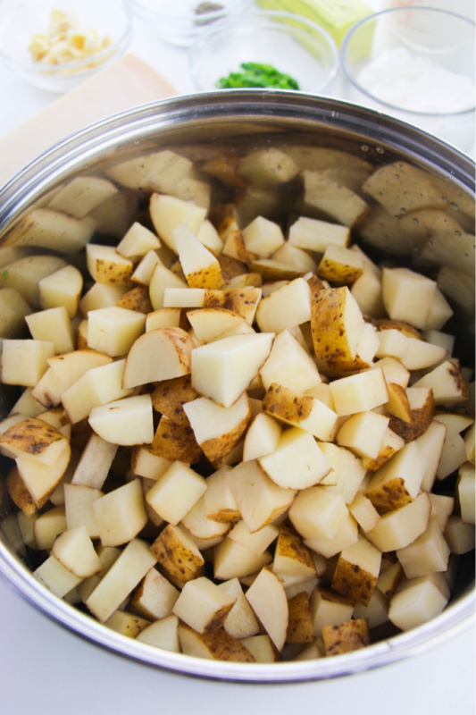 chopped potatoes in a large pot