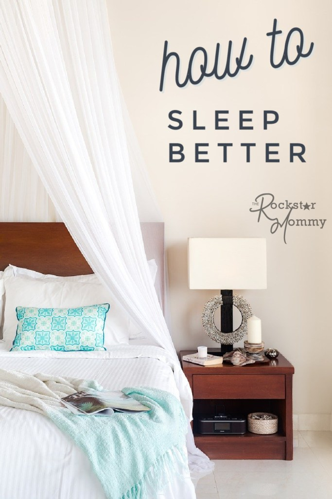 "image of a bed and a night stand - with text on image ""how to sleep better"""