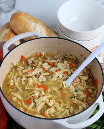 Turkey Noodle Soup in a large soup pot with a serving spoon