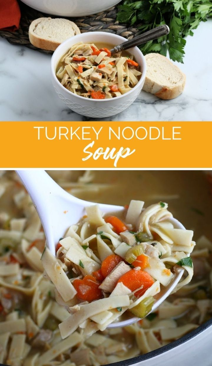 Turkey Noodle Soup is just like a classic chicken noodle soup but made with leftover turkey, it's nourishing, filling and a family favorite.