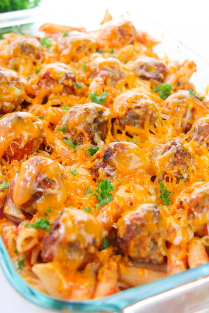 cooked baked meatball casserole in a baking dish