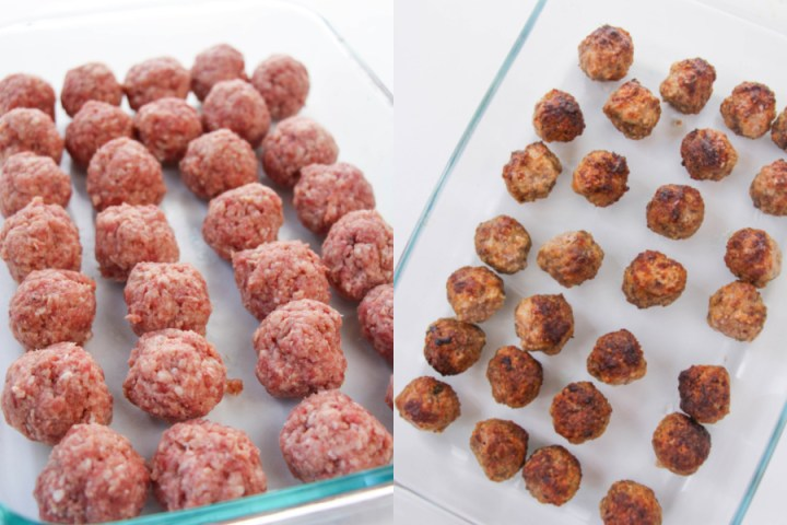 2 images showing uncooked and then cooked meatballs in a baking dish