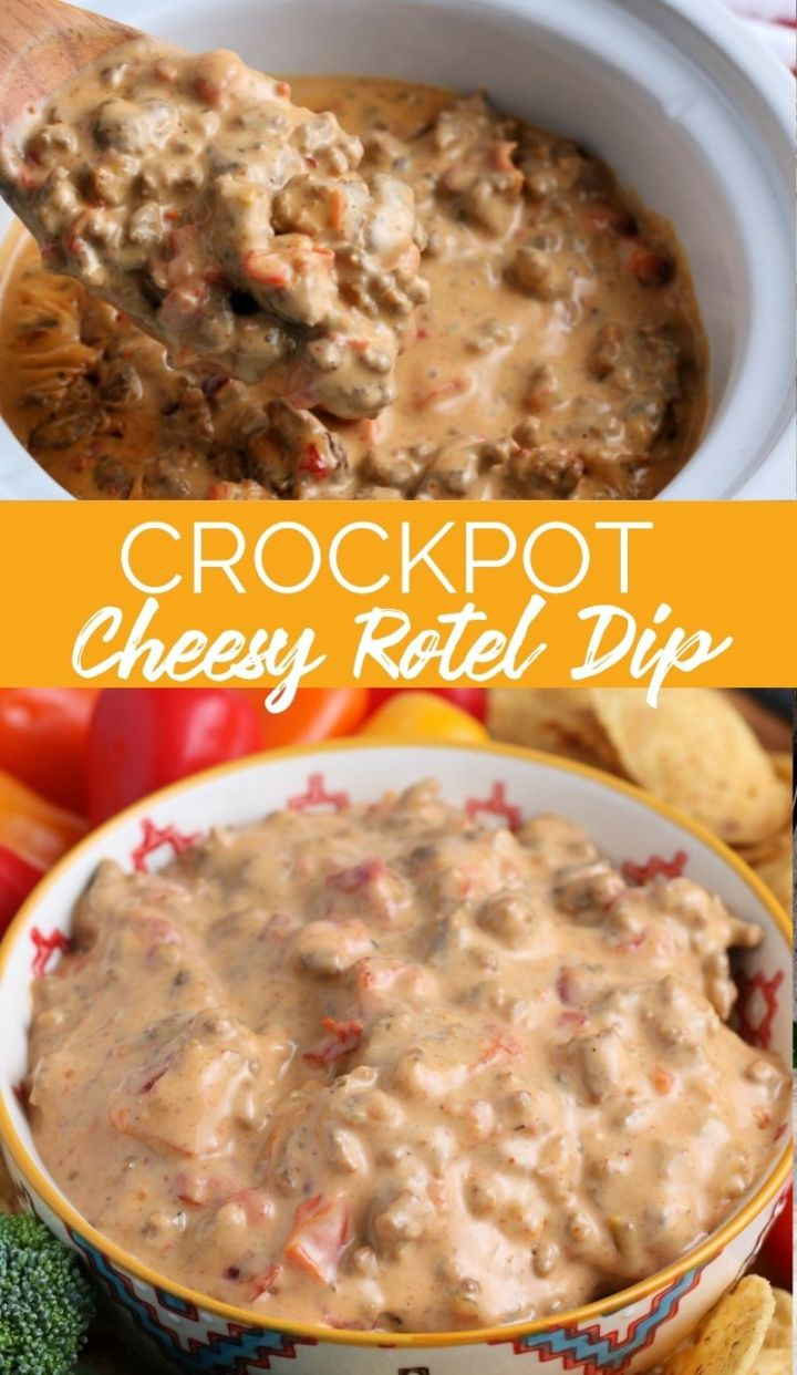 This Crockpot Cheesy Rotel Dip is named after the hero ingredient, Rotel tomatoes. This beefy, cheesy dip is the hit at any gathering.