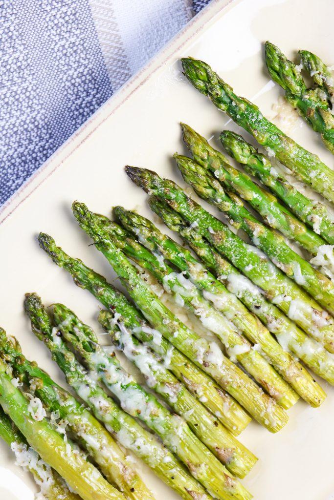 roasted asparagus on a platter