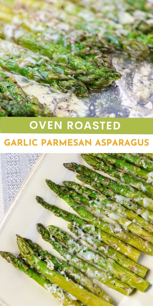 Oven Roasted Garlic Parmesan Asparagus provides a light and tasty side of greens, roasted till soft and tender while still slightly crisp.