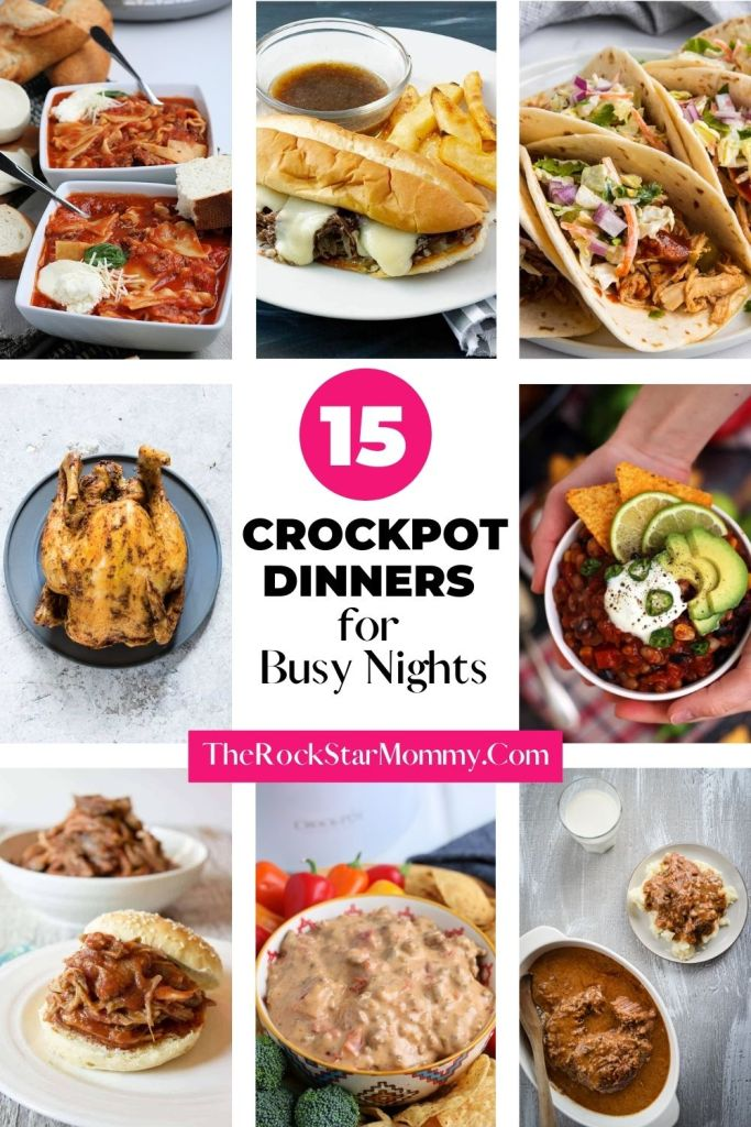 collage image of 8 different crockpot recipes with the title 15 Crockpot Dinners for Busy Nights