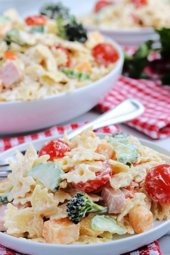 Summer Bowtie Pasta Salad on a plate