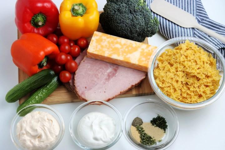 ingredients for summer bowtie pasta salad