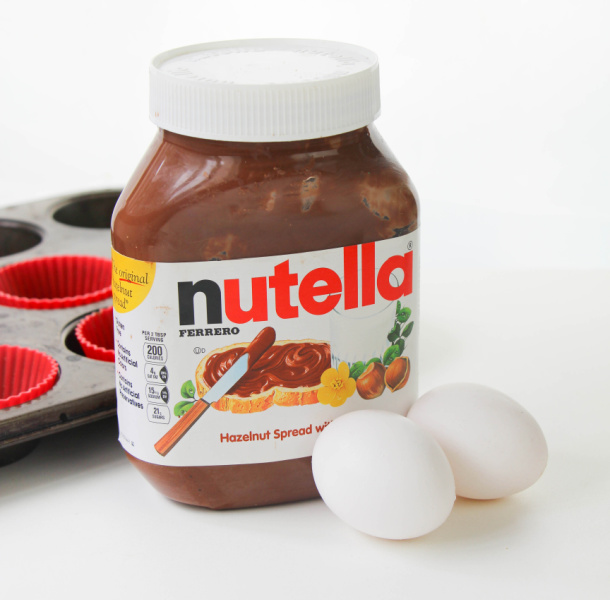 jar of Nutella and 2 eggs