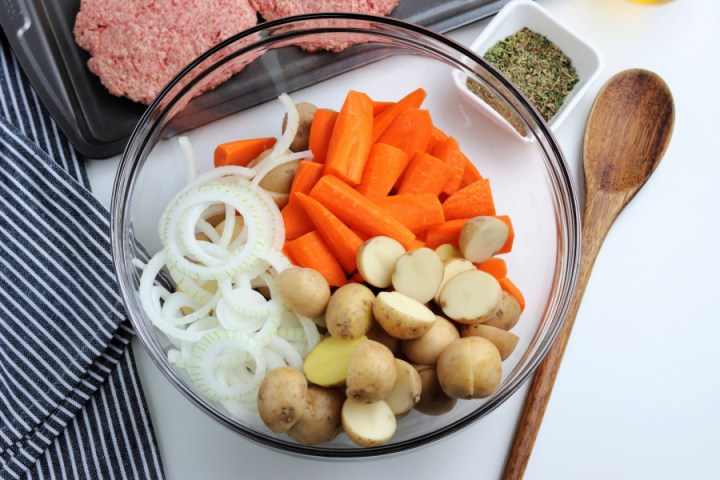 Chopped up carrots, onion and potatoes