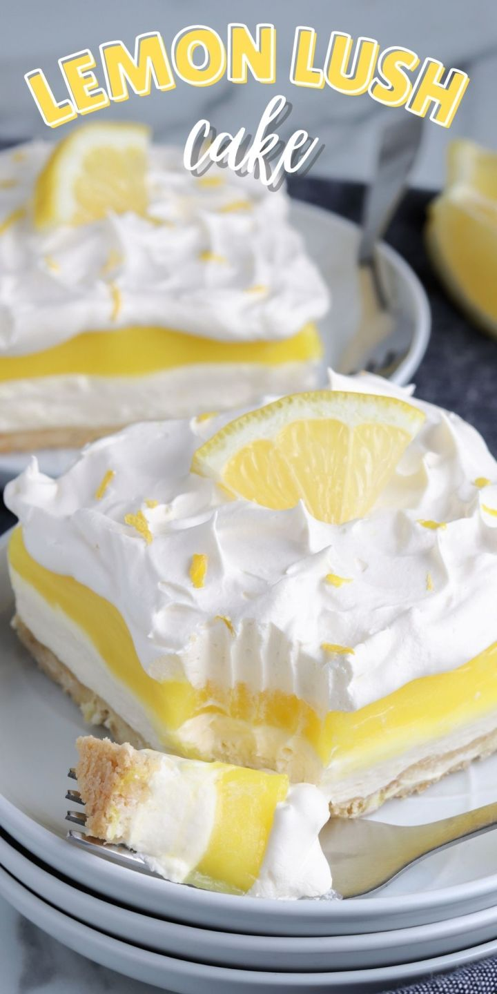 If you're in the mood for lemon dessert but want effort required for a lemon meringue pie, then this Lemon Lush Cake is the perfect solution.