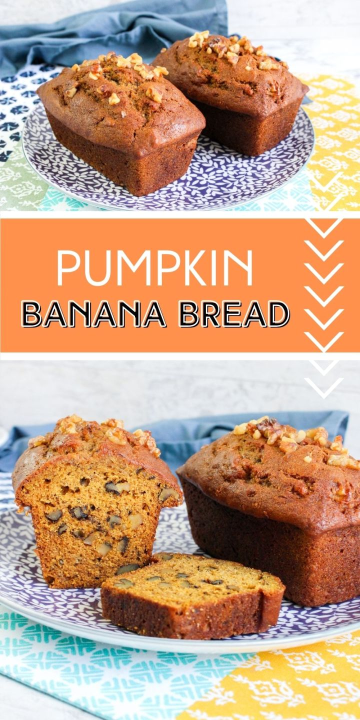 This Pumpkin Banana Bread is incredibly moist and loaded with familiar flavors of fall. Makes for a yummy breakfast or light dessert!