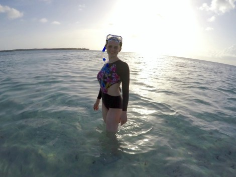 Enjoying the snorkelling at the nylon pool - 500m out to sea an only 60cm deep.
