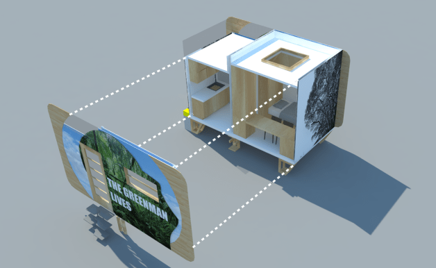 The interior mock up of the eco-living GreenMan Tiny Home.