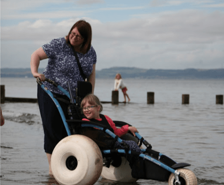 All terrain wheelchair boost for Scottish beach