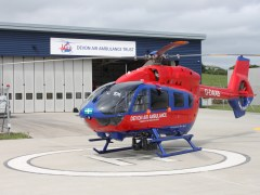 New Devon Air Ambulance helicopter touches down in Devon for the first time