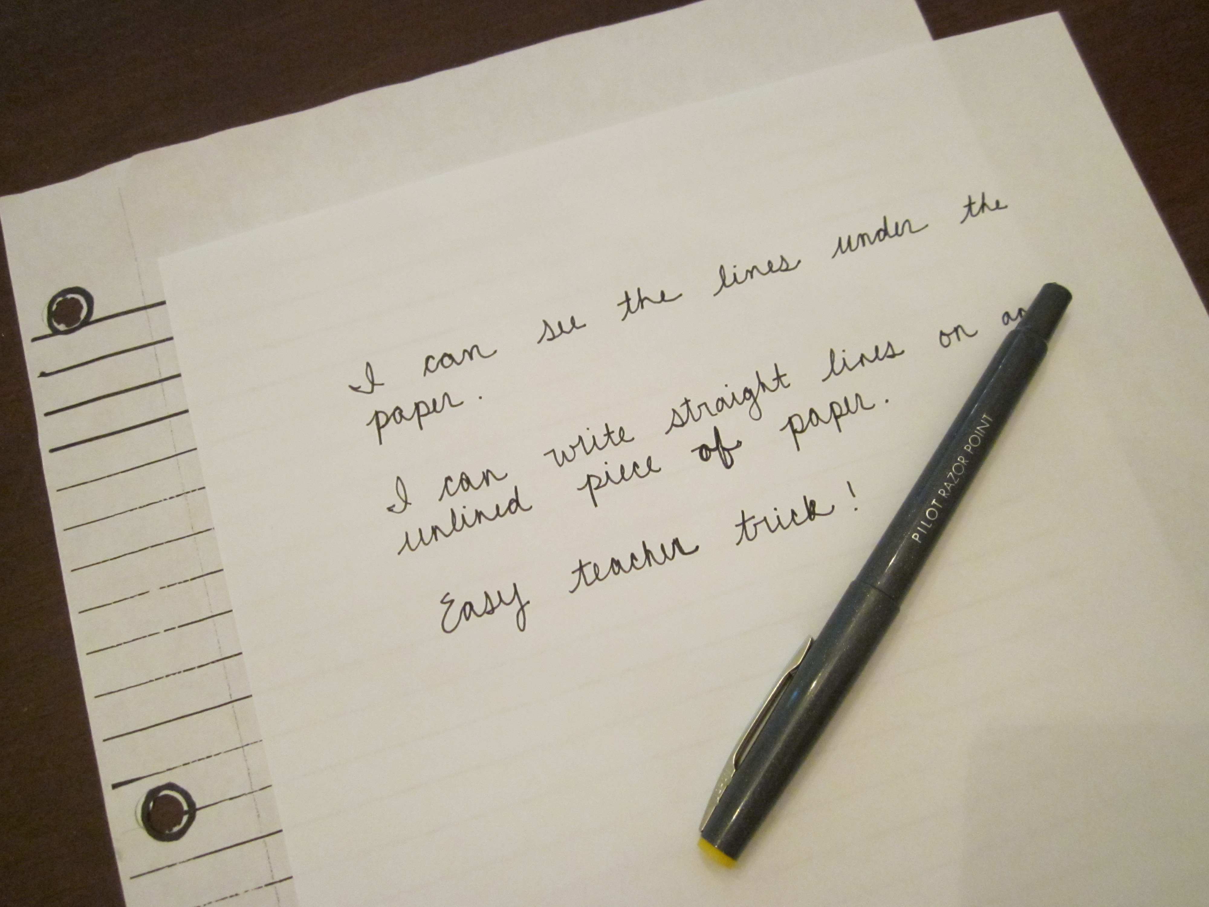 Writing In A Straight Line On Unlined Paper