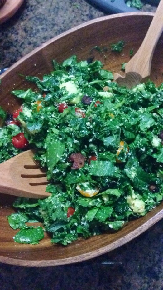healthy spinach kale salad
