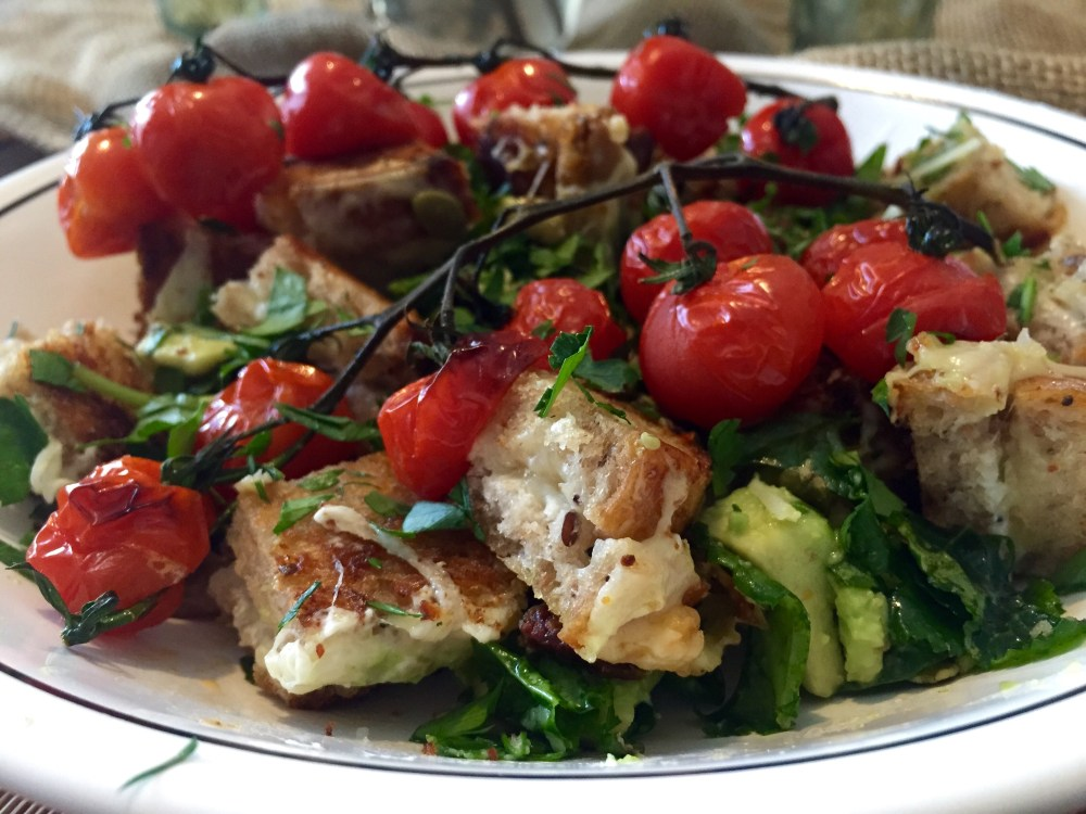 Grilled Cheese Panzanella with Roasted Cherry Tomatoes