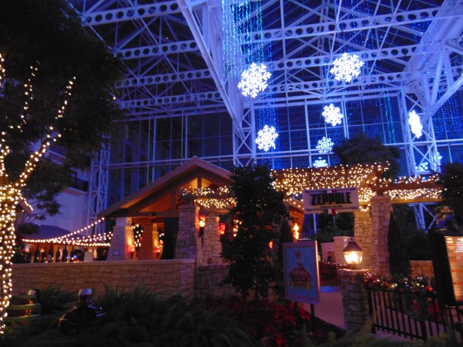 Gaylord Texan hangs two million lights, hangs over 5,600 feet of garland, sets up a 54-foot Christmas tree, places 15,000 ornaments, and hangs 2,300 decorated wreaths around the hotel atrium. The decorations are all hand-crafted right here in Texas.