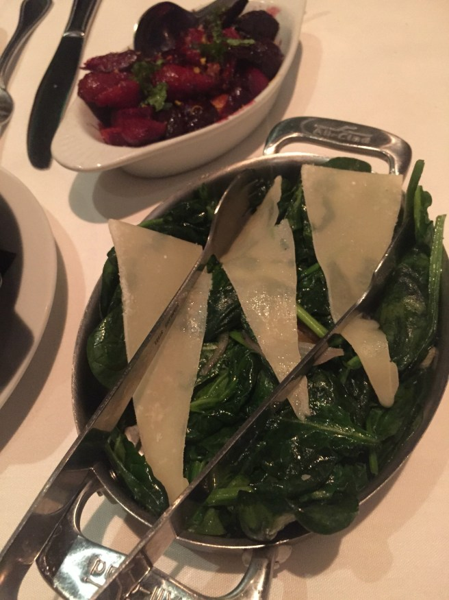 Eddie V's Review: Spinach, Beets | The Rose Table