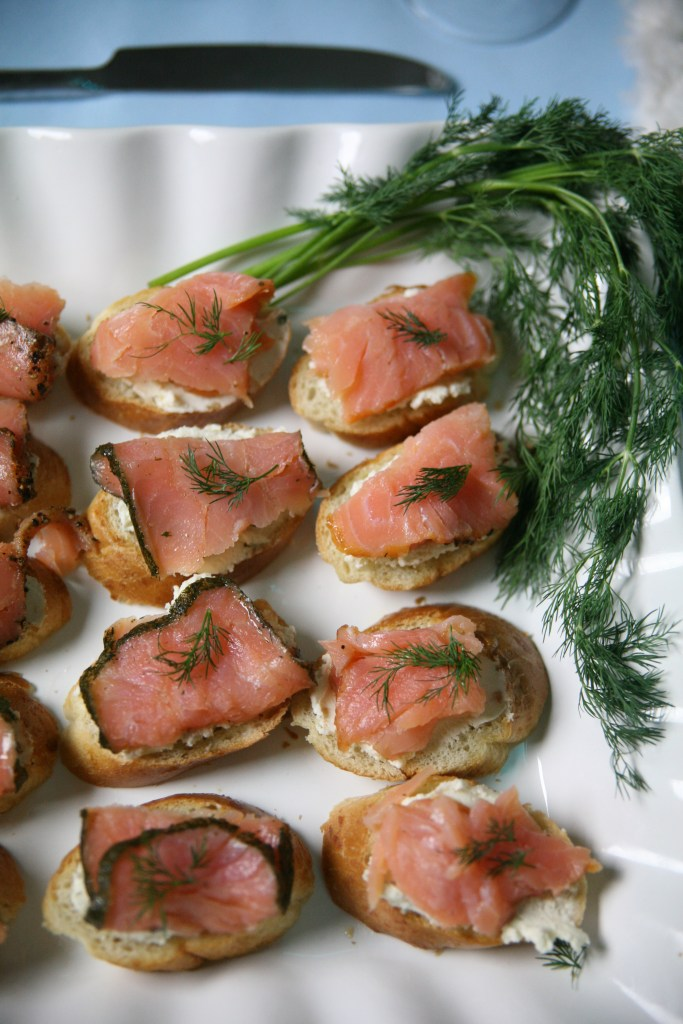 Smoked Salmon Crostini | The Rose Table, Frozen recipes, adult Frozen dinner party
