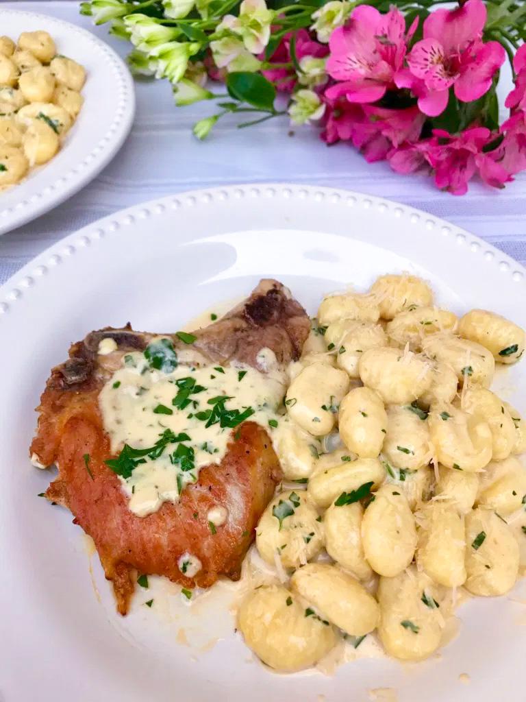 Mustard Cream Pork Chops and Gnocchi