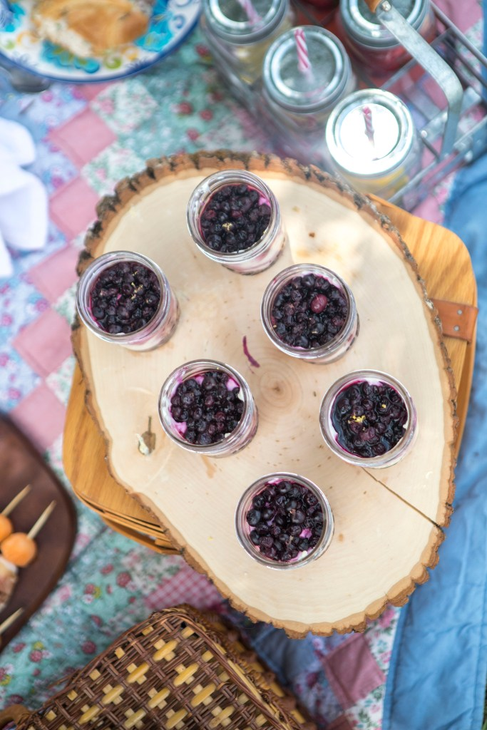 Cheesecake Mason Jars with Blueberry Sauce | The Rose Table