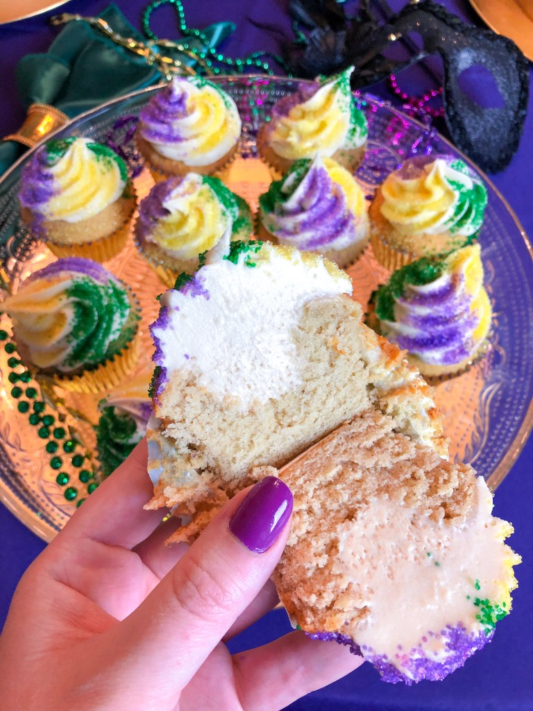 King Cake Cupcakes Mardi Gras Dessert Recipe | The Rose Table