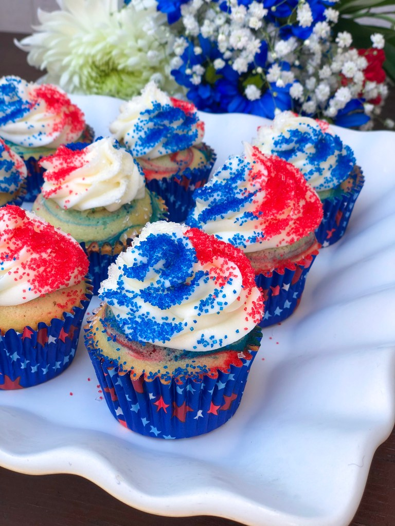 Red White and Blue Cupcakes for 4th of July, Independence Day